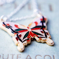 Butterfly Necklace Enamel Colorful Metal Insect Pendant Geometric Sterling Silver Red Pink Green Spring