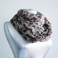 Handmade Leopard Infinity Scarf - Brown Salmon - Soft Cotton Scarf - Summer Spring Autumn