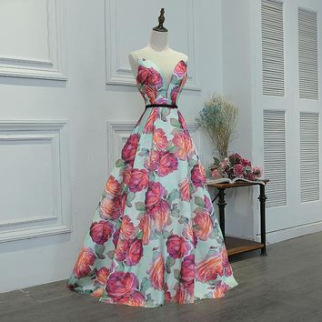 Backless Floor Length Deep O-neck Floral Print Prom Gowns Sleeveless Formal Dress Party Dresses