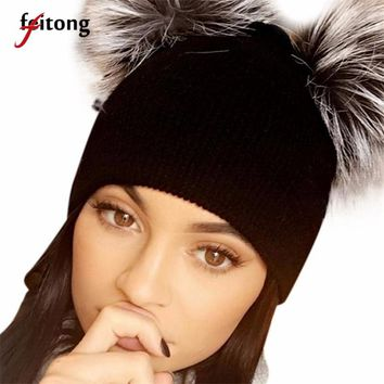 Feitong Hats For Women Knitting Beanie Skullies Hip Hop Winter Cap Two Ball Warm Winter Hats For Women Bonnet Femme
