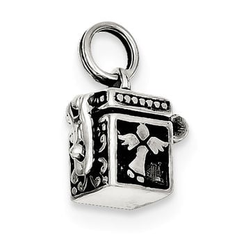 Sterling Silver Angel Prayer Box Charm QC4460