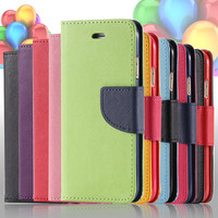 FLOVEME Flip Leather Case For iPhone 7 6 6S / Plus 5 5S SE Wallet Pouch Style Dual Color Stand Cover For iPhone 6 7 6S Plus SE