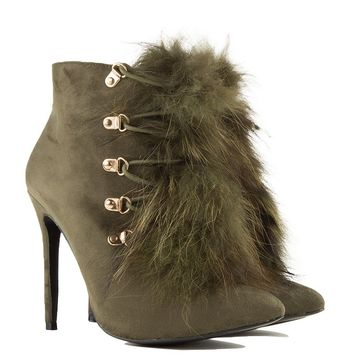 Fur Ankle Booties in Olive