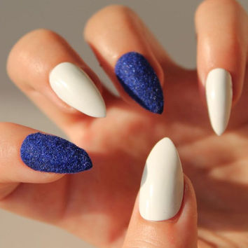 Blue Valvet and White Fake Nails -  Set of Handpainted False Nails - Choose Stiletto, Oval or Square Nails - Handpainted Nails