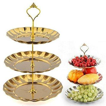 3 Tier Stainless Steel Cup Cake Stand Holder, Fruits Desserts Cupcake Display Holder, Fondant Pastry Craft Bracket Tray for Wedding Baby shower Party Decoration Supplies
