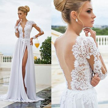 Summer Bohemian Boho Wedding Gowns Dresses Sexy V Neck Transparent Lace Long Sleeve Beach Bridal Dress Split Chiffon Vestidos