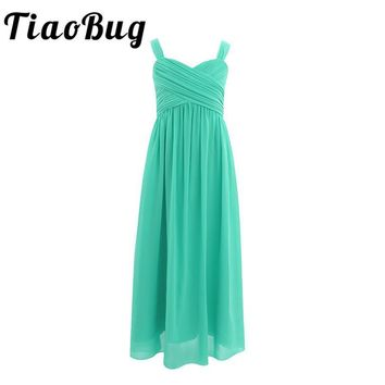 TiaoBug Kids Infant Girls Chiffon Dresses Floral Sequins Bow Lace Maxi Wedding Boutique Floor Length Tulle Tutu Ball Gown Dress