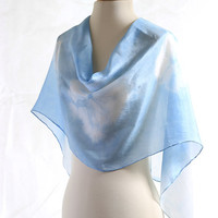 Light blue silk scarf, naturally dyed scarf, Shibori indigo scarf, natural Indigo dyed, cerulean aqua blue silk, winter ice blue, tie dyed