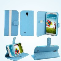 Bear Motion (TM) Premium Folio Case for Samsung Galaxy S4 SIV S IV i9500 (Support Smart Cover Function) - Blue