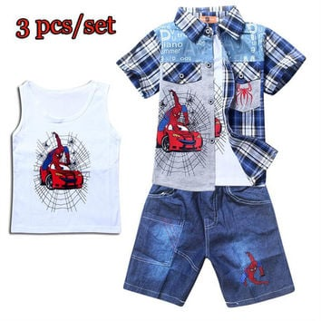 3pcs Baby Boys Cotton Spider-Man Plaid SetsToddler Summer Sets Blouse Shirt + Vest + Jeans Short Pants Children Clothing