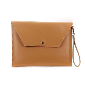Khaki Large Envelope Clutch Bag For Ipad