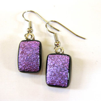Dichroic Purple Earrings, Dangle Earrings, Fused Glass Jewelry, Ear Jewelry on Etsy - Cosmic Purple - 1381 -2
