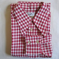 Vintage 1950s Mens Long Sleeve Shirt FORSYTH Red White Cotton Gingham Check 50s Shirt Small