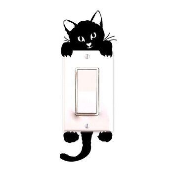 10pc DIY Funny Cute Cat Wall Stickers Light Switch Decor Decals Art Mural Baby Nursery Room decoration Bedroom Parlor Decoration