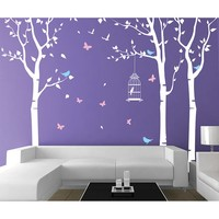 Three Birch Trees and Birdcage Wall Decal