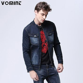 Men's Classic Trucker Jacket with Zipper Placket Dual Flap Chest Pockets Stand collar Denim Coat