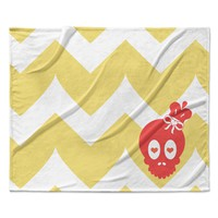 "Nick Atkinson ""Skull II"" Yellow Chevron Fleece Throw Blanket"