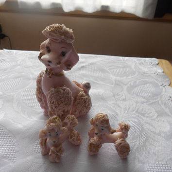 Vintage PINK SPAGHETTI POODLE Family Mama poodle and 2 babies 60s era cute dog poodle figurines