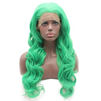 Iewig Long Wavy Green Wig for Women Synthetic Lace Front Half Hand Tied Party Wig