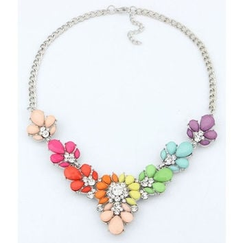 2015 New Fashion Jewelry Crystal Statement Collar Necklace Bead Multicolor Rhinestone Pendant Choker Necklace for Women [8081689479]
