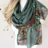 Green angora shawls, Scarves olive, Earth colors scarf, Handmade scarf, Patchwork scarf, Unique products, Hippie boho scarf, Oversized shawl