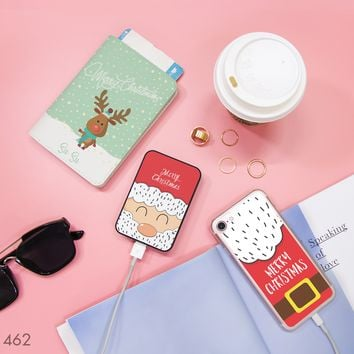 Merry Christmas Santa and Reindeer Combo Passport Holder, Power Bank and Phone case