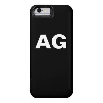 Monogrammed white bold letters on black iPhone 6 case