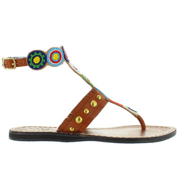 MIA Athena - Bright Multi Beaded/Brown Leather Flat Thong Sandal