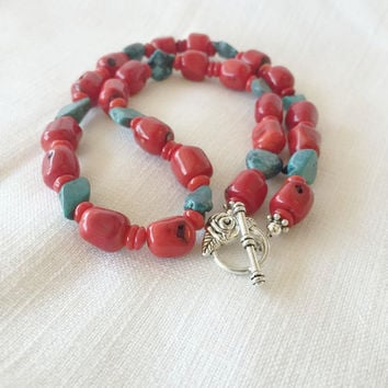 Coral and Turquoise Necklace - Gemstone Necklace - Coral Necklace - Turquoise Necklace - Holiday Gift Idea - Red Coral Necklace