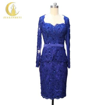 Hot Sale Real Sample Image Rhine Long Sleeves Lace Full Beadings OPen Back Dark Blue Knee length Party Mother of bride dresses