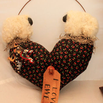 I Love Ewe Sheep stuffed heart wall hanging
