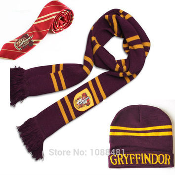 HARRY Gryffindor Scarf+Cap/Hat/NECKTIE/Touch Glove Soft Warm Costume Christmas gift For Potter Cosplay