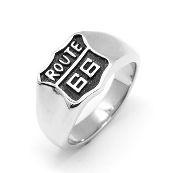 Stainless Steel USA Road Route 66 Ring For Men Motor Biker Women's Men's Jewelry Vintage Style Free Shipping 6-15#