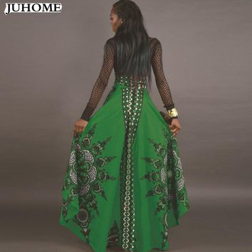 india style Irregular Sexy Beach High Waist Long Skirts 2017 autumn winter Ladies Vintage plus size Maxi Skirt For Woman Ethnic