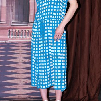 80s Drop Waist Blue Grid Dress / M L