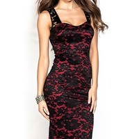 Natasha Red and Black Sleeveless Knee Length Lace Cocktail Dress
