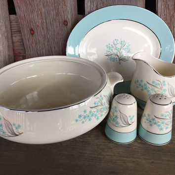 "Midcentury china, Sevron Blue Lace china, salt and pepper set, creamer, 9"" oval platter, 1950's Vintage dinnerware, Homer Laughlin MCM china"