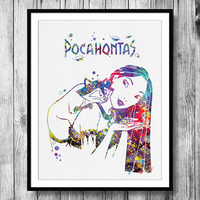 Instant Download Pocahontas Disney Princess and Meeko Watercolor Art Digital Printable PNG JPEG Wall Art For Girls Art Clip Art Wall Decor