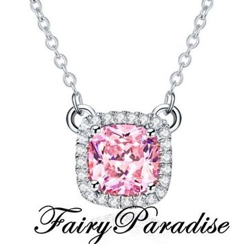 1 Ct Cushion Cut Pendant Necklace, Man made Diamond,  3 color options : Clear / Yellow / Pink, Everyday necklace, Charm Necklace, Halo Set