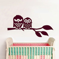 Wall Decals Owl on Branch Childrens Decor Kids Vinyl Sticker Wall Decal Nursery Baby Room Bedroom Murals Playroom - Owl Decor SV6012