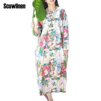 SCUWLINEN 2017 Spring Autumn Dress O-neck Flower Print with Butterfly Loose Casual Linen Dresses Vintage Women Dress Vestido S36