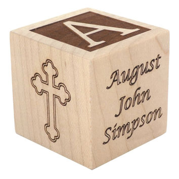 Personalized Baby Baptism Block