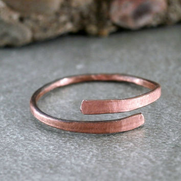 Hammered Copper Ring Metalwork Antiqued Copper Ring Rustic Jewelry Minimalist Style Made to Order Copper Jewelry Artisan Handmade Ring