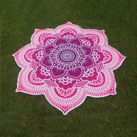 Lotus Flower Mandala Beach Towel