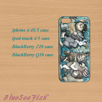 iphone 4 case,iphone 5 case,ipod touch 4 case,ipod touch 5 case,Blackberry z10 case,Blackberry q10--Where the Wild Things Are,in plastic.