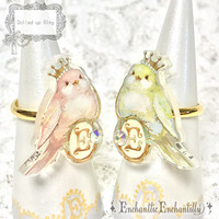 Dolled Up Ring ❤︎ Happy Bird (pink) | Enchantlic Enchantilly | Accessory Ring | s-01425 | Wunderwelt Online Shop - Gothic & Lolita Second-hand Clothing