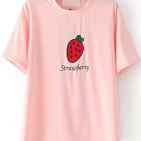 Strawberry Patch Embroidered Pink T-Shirt