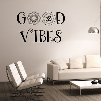 GOOD VIBES Wall Decal OM Mandala Flower namaste Vinyl Sticker Art Decor Bedroom Design Mural flower Buddha namaste yoga living room