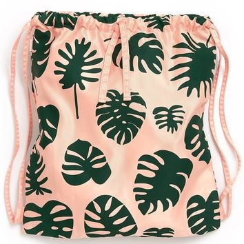 Monstera Got Your Back Drawstring Backpack by Bando