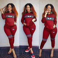 GUCCI Fashionable Women Stripe Bee Print Top Hoodie Sweater Pants Trousers Set Two-Piece Red
